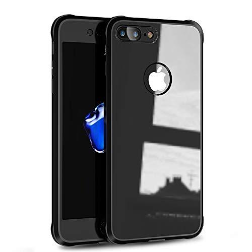 IPAKY Cover di Protezione a 360° per iPhone 7 + Kit Vetro temperato + Protezione Schermo di Alta qualità (TPU Border + UV Coating PC)