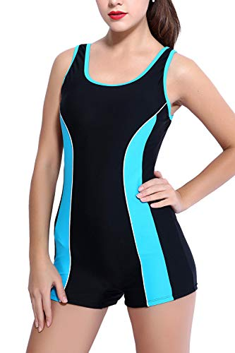 CharmLeaks Boyleg Swimsuits 1 Piece Pro Swimsuit Lap Bathing Suits Athletic Swimwear Blue XL