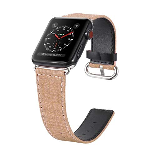 Correa de reloj para Apple Watch Correa para iwatch Flower Cowboy Canvas Black Jean Denim para mujeres Hombres Accesorios de reloj