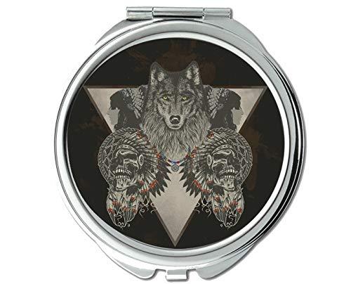 Yanteng Spiegel, Kompaktspiegel, Indischer Wolfsschädel, Taschenspiegel, 1 x 118-fache Vergrößerung