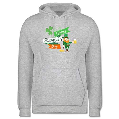 St. Patricks Day - Happy St. Patricks Day Kobold - L - Grau meliert - st Patricks Day Herren - JH001 - Herren Hoodie und Kapuzenpullover für Männer