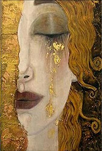 Fulanpai Diamond Painting para decoración del hogar Arte Pared 5D DIY Mujer Dorada Abstracta Diamante Pintura Bordado de Punto de Cruz Completo Kit,Diamante Redondo,45x60cm