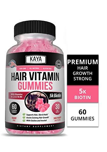Kaya Naturals Hair Growth Vegetarian Vitamin Gummy Bears, 60 Count, Biotin, Vitamin D, Vitamin B-12, Vitamin A, Folic Acid, Natural Blueberry Flavor (60 Gummies)