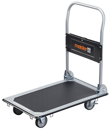Meister Plattformwagen - Klappbar - Bis 150 kg Tragkraft - Feststellbremse / Transporthilfe mit Lenkrollen / Paketwagen mit Antirutsch-Beschichtung / Klappwagen aus Stahl / 8985530