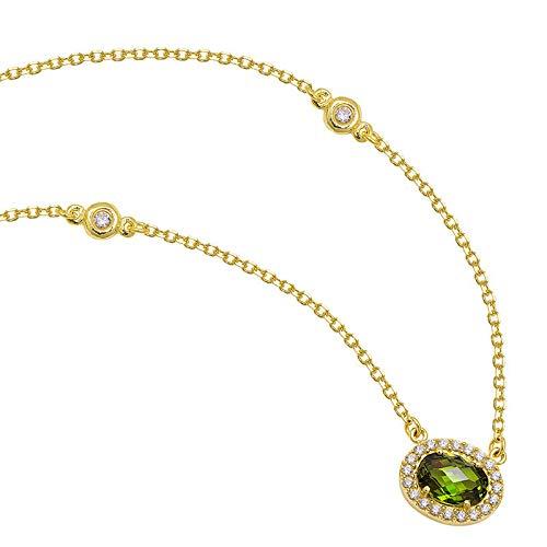 aion Tropfen Anhänger mit Kette Gold 585 Gelbgold 18K Syntht Smaragd Damen Collier 45-50cm (50, 18 Karat (750) Gelbgold)
