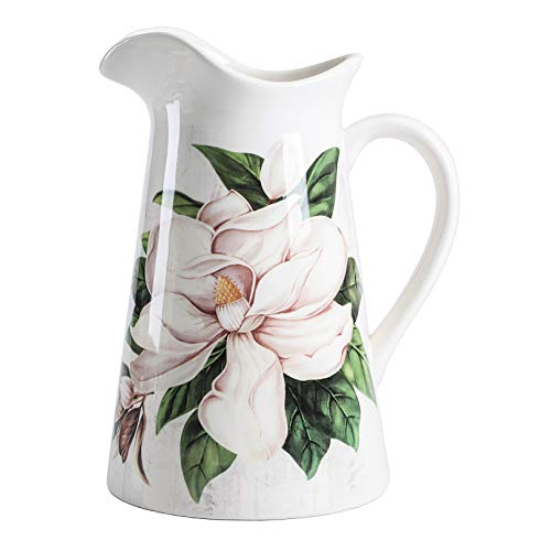 Bico Magnolia - Jarra de cerámica floral de 2,5 cuartos con asa, jarrón decorativo para arreglos florales, apto para lavavajillas