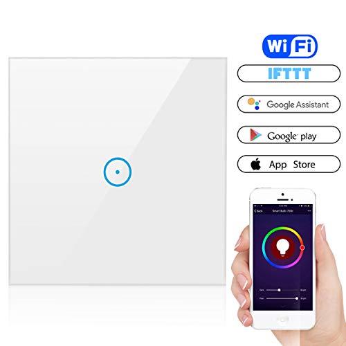 Smart Lichtschalter, YAPMOR Wifi Lichtschalter arbeitet mit Amazon Alexa, Google Home, gehärtetes Glas Touchscreen-schalter mit Überlastungsschutz, Fernsteuerung Ihrer Geräte von überallre (1-Weg)