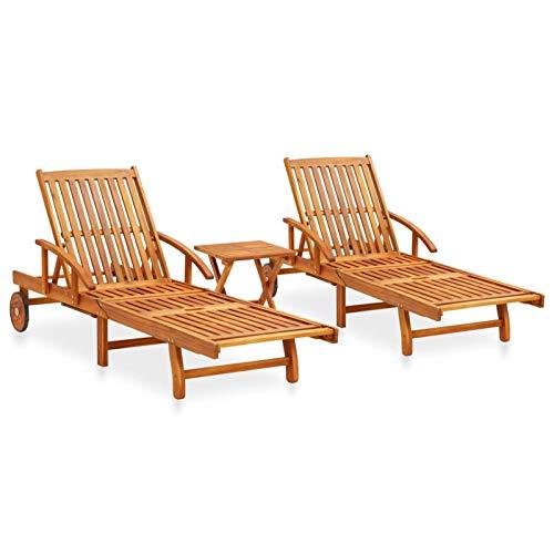 Tidyard Set Mobili da Giardino Relax 2 Sedie a Sdraio e Tavolino in Legno Massello di Acacia,Lettino Prendisole Reclinabile con Rotelle perper Campeggio Spiaggia Mare Piscina Giardino Esterno