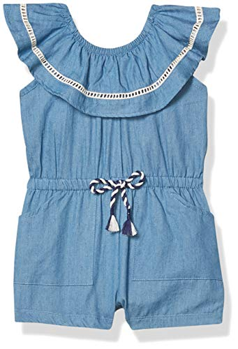 Jessica Simpson Baby Girls' Rompers, Ruffle Neck with Faggoting and pom pom Chambray, 12M