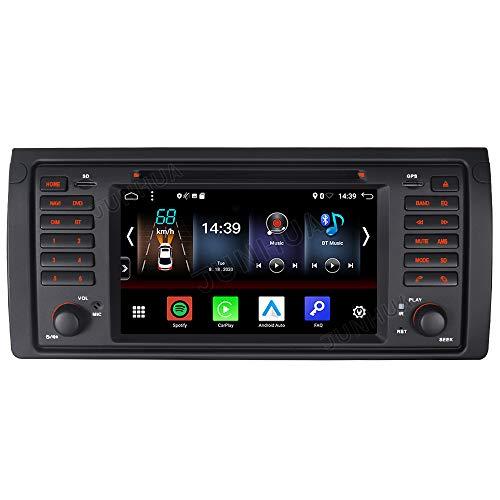 Junhua Android 10.0 2GB+32GB Carplay Android Auto Autoradio DVD GPS Navigation für BMW E39 E38 Unterstützt Fast Boot Bluetooth 5.0 WiFi 4G USB Subwoofer Mirrorllink AV-Out