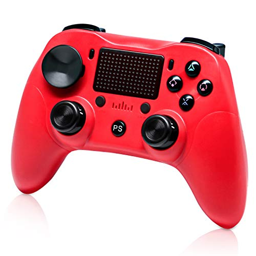 Wireless PS4 Controller Dual Shock 4, Funcilit Playstation 4 Controller Wireless Bluetooth with Dual Vibration Gamepad Joystick for PS4/PS4 Pro/PS4 Slim/PS3/PS TV & PC (Red)