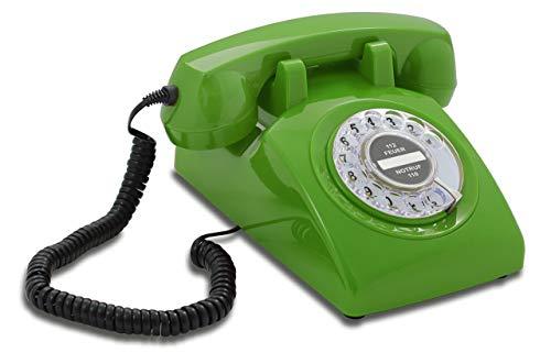 Opis 60s Cable: Klassisches Telefon der 60er und 70er mit schwarzem Deutsche Post Pappeinleger/Retro Telefon im sechziger Jahre Vintage Design mit Wählscheibe und Metallklingel (grün)