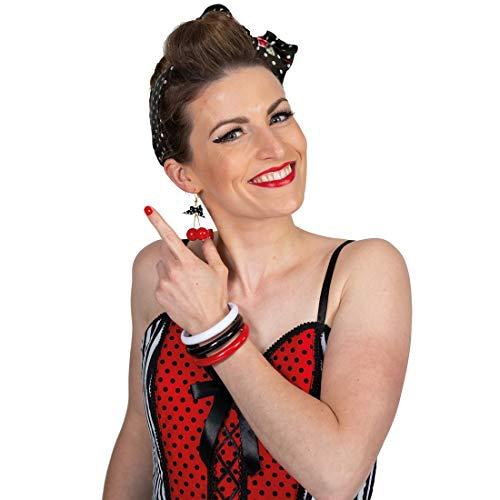 NET TOYS Stylische Rockabilly Armreifen 3 Stück - Schickes Damen-Kostüm-Zubehör 50er Jahre Armschmuck - Genau richtig für Fasching & Mottoparty