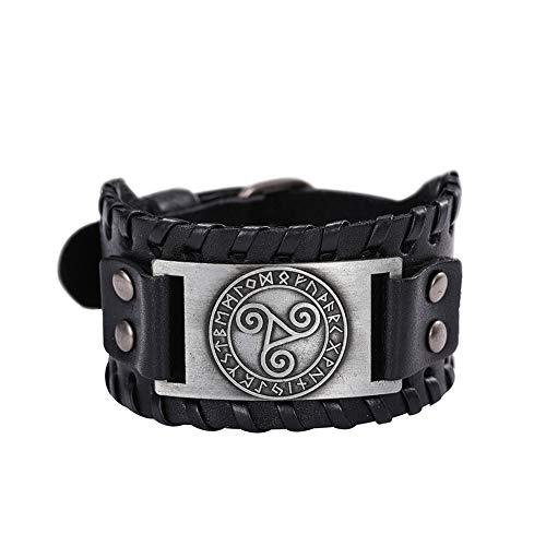 VASSAGO Viking Celtic Triskelion - Triple Espiral Triskele Swirl Amuleto nórdico Pulsera Medieval Futhark Jewelry