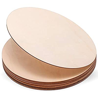 FineCutOut Wood Plywood Circles for Crafts, Pack of 12 Unfinished Wood Rounds 12 Inch Wood Circles Cutouts for Crafts, Pyrography, Painting, Door Hanger, Wood Burning and Wedding Decorations
