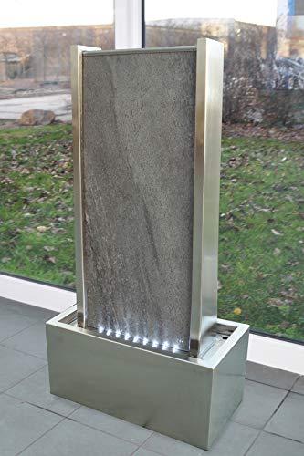 Köhko® Wasserwand ca. 78 cm Kombination aus Naturstein und Edelstahl Wasserfall mit LED-Beleuchtung
