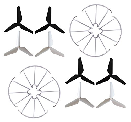 BTG Black and White 3-Blade Propellers (2sets) + Prop Guards (2sets) for Syma X5 X5A X5C X5S X5SC X5W X5SW H5C Skytech M68R Quadcopter Parts