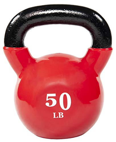 Everyday Essentials All-Purpose Color Vinyl Coated Kettlebell, 50 Pounds, Various