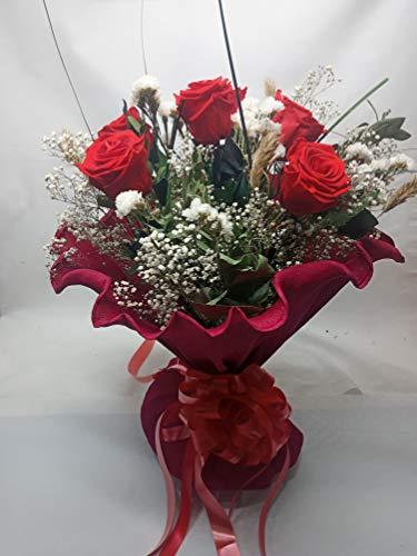 Rosa eterna roja. Rosa preservada roja. Envío Prime. Ramo de Rosas Rojas (6 Rosas). Ramo de Rosas eternas Rojas preservadas, con Verdes y Flores preservadas. Hecho en España.