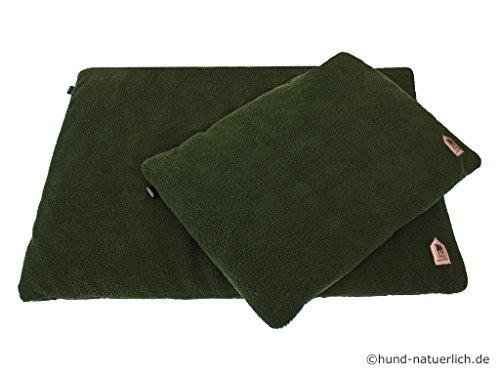 Hund-natuerlich Faserpelz Hundedecke Hundebett Thermo in oliv grün, in 2 Größen (L 100cm x 70cm)
