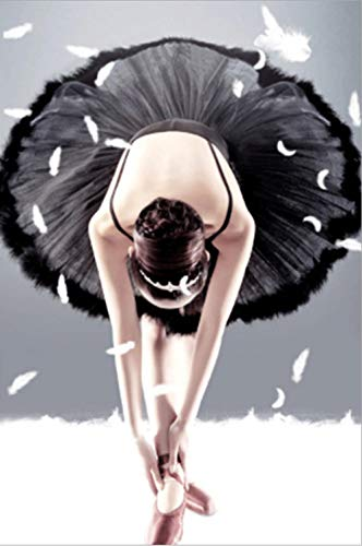 skwff Pintura de Diamantes infantil 5D Kit de DIY Diamond painting bordado de punto de cruz manualidades Bailarina de ballet belleza danza de la pluma 30 * 40cm
