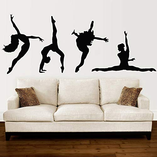 jiushivr Tänzer Mädchen Silhouette Wandaufkleber Für Mädchen Schlafzimmer Musik Leidenschaft Ballett Vinyl Wandtattoo Decor Gymnasium 42x106 cm