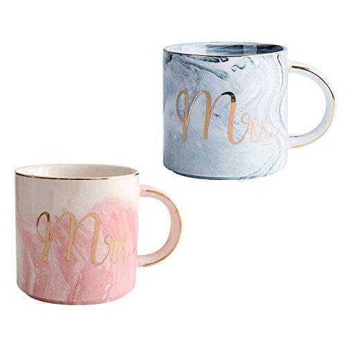 Nowsend MR & MRS Kaffeetassen Kaffeebecher Paartasse 2er Set Liebestasse Partnertasse Ideales Geschenk für Hochzeit Valentinstag Jubiläum und Weihnachten