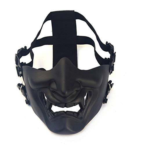 Samurai Airsoft Maske Taktische Prajna Halbgesicht Hannya Oni Motorrad Evil Demon Knight Kabuki Maske für Halloween Cosplay Kostüm Jagd Shooting