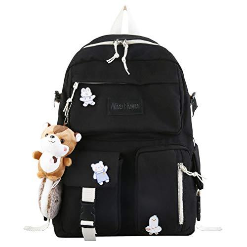 School Backpack for Girls Women Ladies Backpack School Bag Bookbag Set with plush toy for Teen Girl (Black)