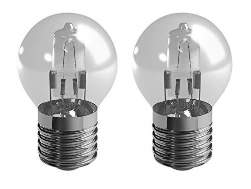 Duracell e27 28w mini globo eco halógena regulable luz, es edson tornillo, equivalente a 36w, 370 lúmenes (2 bombillas)