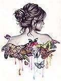 Pintar por Numeros para Adultos,Chica mariposa colorida DIY Pintura al óleo Kit Niños Pintura por Números con Pinceles y Pinturas Decoraciones para el Hogar,40X50 cm(Sin marco).