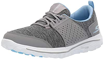 Skechers Women's Go Walk 2 Sugar Relaxed Fit Golf Shoe, Gray/Blue, 7 M US