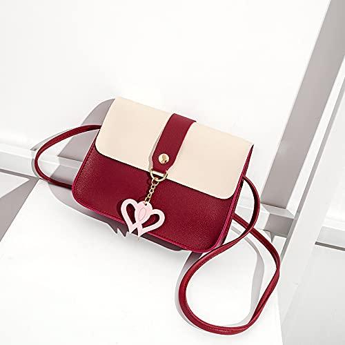 PJTL Moda y Sencillas de Las señoras Compras Color Sólido One-Shoulder Messenger Bag PU Cuero Messenger Bag Ladies Colgante Viajes Pequeño Bolso