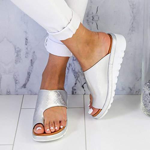 Liyuzi Große Zehenring Sandale Zehentrenner Plattform Keil Sandal für Frauen Flip Flops Sommer Strand Reisen Gladiator Sandalen PU wasserdicht atmungsaktive Schuhe Toe Ring Sandal,Silver,8.5