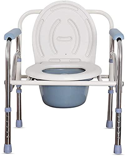 HHORB Silla Plegable para El WC De Aluminio 3 En 1, Silla con Inodoro con Reposabrazos Abatibles Y Regulable En Altura, para Adultos Discapacitados Ancianos ⭐