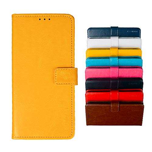 BeyondTop Hülle für Alcatel 3X 2020 PU Leder Brieftasche Hülle mit Stand Funktion & Magnetisch Schnalle Flip Handyhülle für Alcatel 3X 2020-Gelb