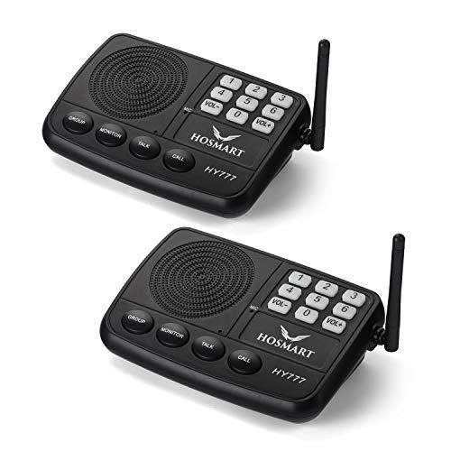 HOSMART Funk-Türsprechanlage für Zuhause oder Büro, mit Sicherheitssystem Funk und langer Reichweite, 1/2 Meile, 7 Kanäle(2Sections)