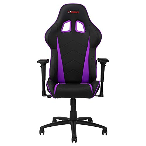 GT OMEGA PRO Racing Gaming Chair with Lumbar Support - Ergonomic PVC Leather Office Chair with 4D Adjustable Armrest & Recliner - Esport Seat for Ultimate Gaming Experience - Black Next Purple