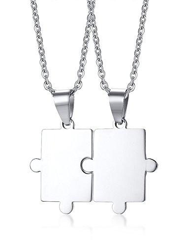 Vnox 2 Pezzi in Acciaio Inossidabile Personalizzati Lucky Puzzles Coppia Ciondolo Collana per Amante Amico BFF,Incisione Gratuita