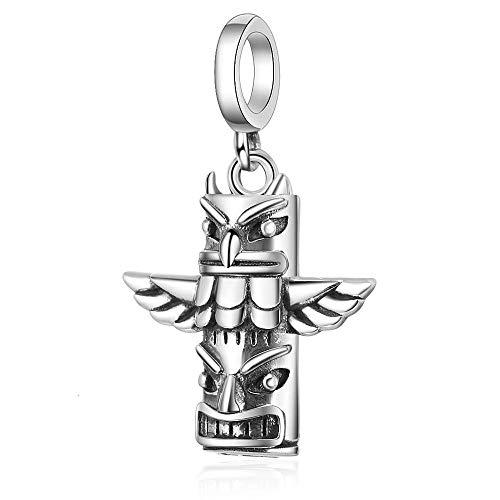 Charm Anhänger,925 Sterling Silber Stamm Totempfahl Urne Charm Zylinder Anhänger Perle Fit Armband Für Gedenkschmuck