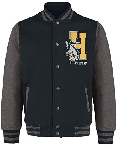 HARRY POTTER Hufflepuff - Quidditch Hombre Chaqueta Universitaria jaspeado negro/gris XL, 100% algodón,