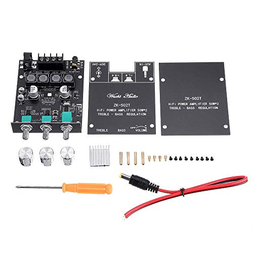 GzxLaY Tone Version 50W2 Bluetooth 5.0 Audio Power Amplificador Board Módulo de ajuste de bajo alto y bajo subwoofer estéreo de doble canal ZK-502T Hi-Fi duradero