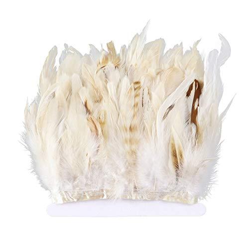 LINGE 10 mètres de Garniture de Plumes de Coq Blanc Plumes de Poulet Frange de Ruban 10-15 cm / 4-6 Pouces Robe Accessoire de Couture décoration de la Maison Artisanat