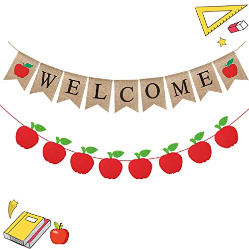 WATINC 2pcs Welcome Burlap Banner, Welcome Banner Bunting and Felt Fruit Garland for Welcome Back to School Party Decorations, First Day of School Supplies, Classroom Home Decor for Mantle Fireplace