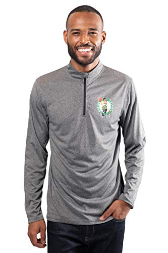 Ultra Game NBA Boston Celtics Mens Quarter Zip Pullover Long Sleeve Tee, Heather Charcoal19, X-Large