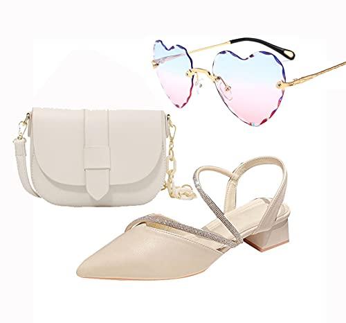 AELEGASN Sandalias Puntiagudas para Mujer y Bandolera y Gafas de Sol Personalizadas, Sandalias de Cuña de 4 cm de Alto, Elegante Conjunto de Bolsos para Zapatos de Boda,39