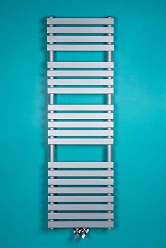 NRG Silber Modern Handtuchheizkörper Handtuchtrockner Mittelanschluss Handtuchwärmer Badheizkörper 1450 x 450 mm