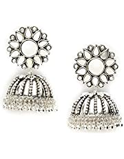 Nityakshi Oversized Latest & Trendy Designer Lightweight Traditional Oxidized Silver With Mirror Work Jhumka Earrings for Women and Girls/Oxidized Silver Jhumka Earring