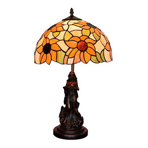 EUS Lámparas de Mesa Tiffany,lámpara de Mesa con vitrales luz Pastoral Flor de Sol ángel de Belleza Pantalla Hecha a Mano lámpara Art Deco de 12 Pulgadas para Sala de Estar,Bar,Dormitorio
