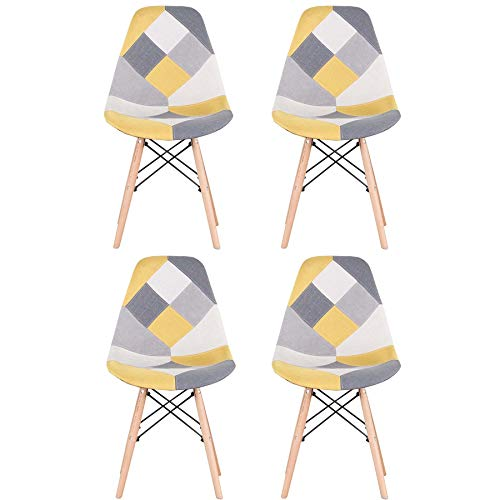 EGOONM Conjunto de 4 Sillas Sillas de Comedor de Patchwork, Sillas de Sala de Estar de Ocio, Silla de Estilo nórdico (Amarillo)